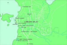 Labuan Bajo map with Wet Frog Divers